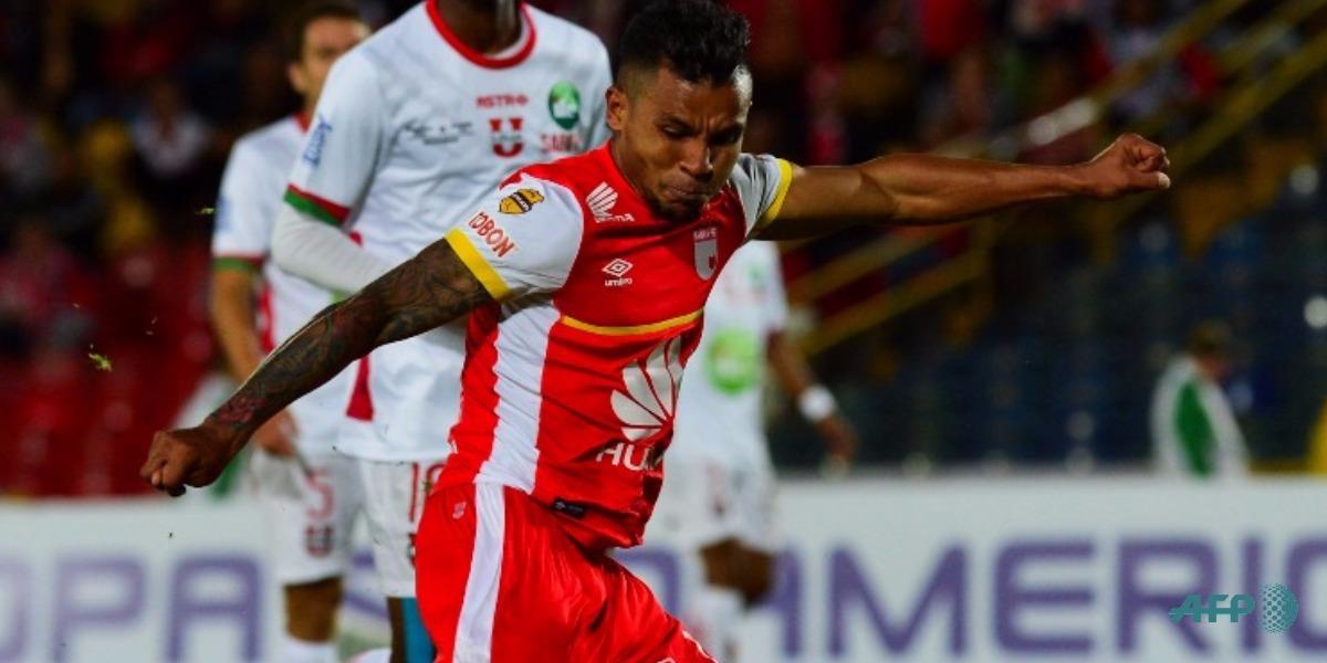 Morelo anotó el gol de Santa Fe (foto de referencia del delantero) - Foto: LUIS ACOSTA / AFP