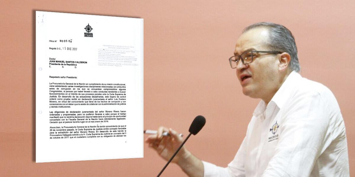 Extraditaré a exfiscal Gustavo Moreno cuando diga toda la verdad: Santos
