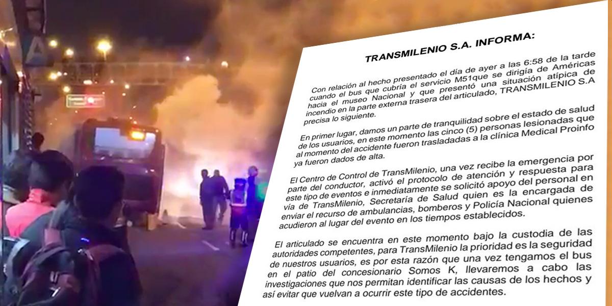 Primer incendio en el año de un bus del sistema — TransMilenio