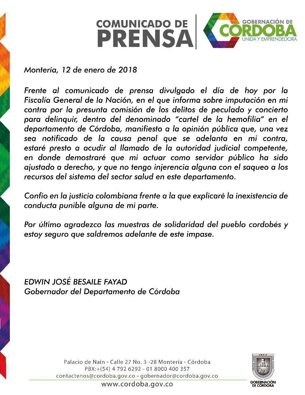 Gobernador de Córdoba advierte que acudirá a llamado de la Fiscalía