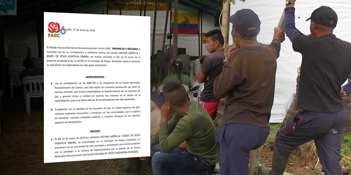 Asesinan a dos miembros del partido de la Farc en Peque, Antioquia