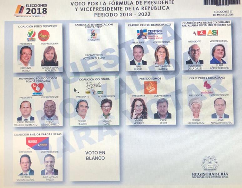 Este será el tarjetón electoral para las Presidenciales
