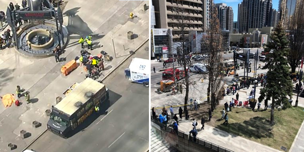 Videos: una camioneta atropelló a varios peatones en Toronto