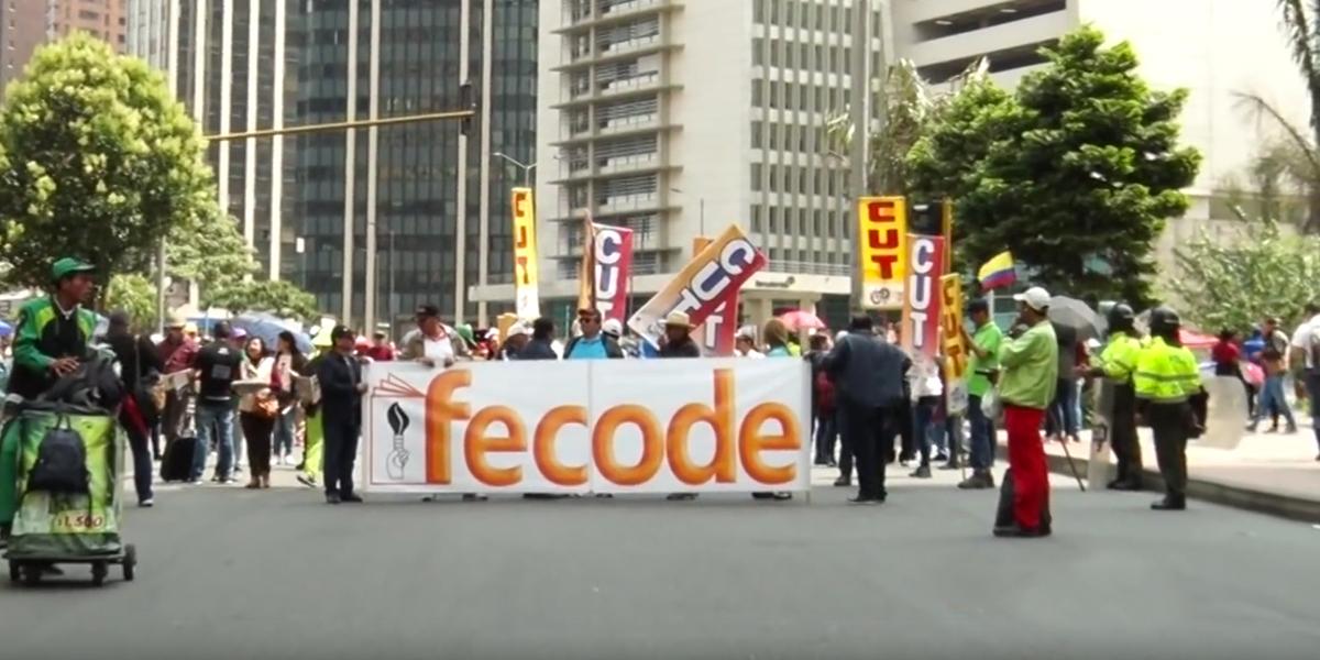 Así se desarrolla el paro de maestros en las calles de Bogotá