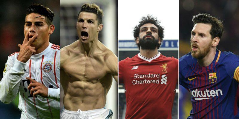 jugadores balon de oro cristiano ronaldo Mohamed salah james rodríguez lionel messi - AFP