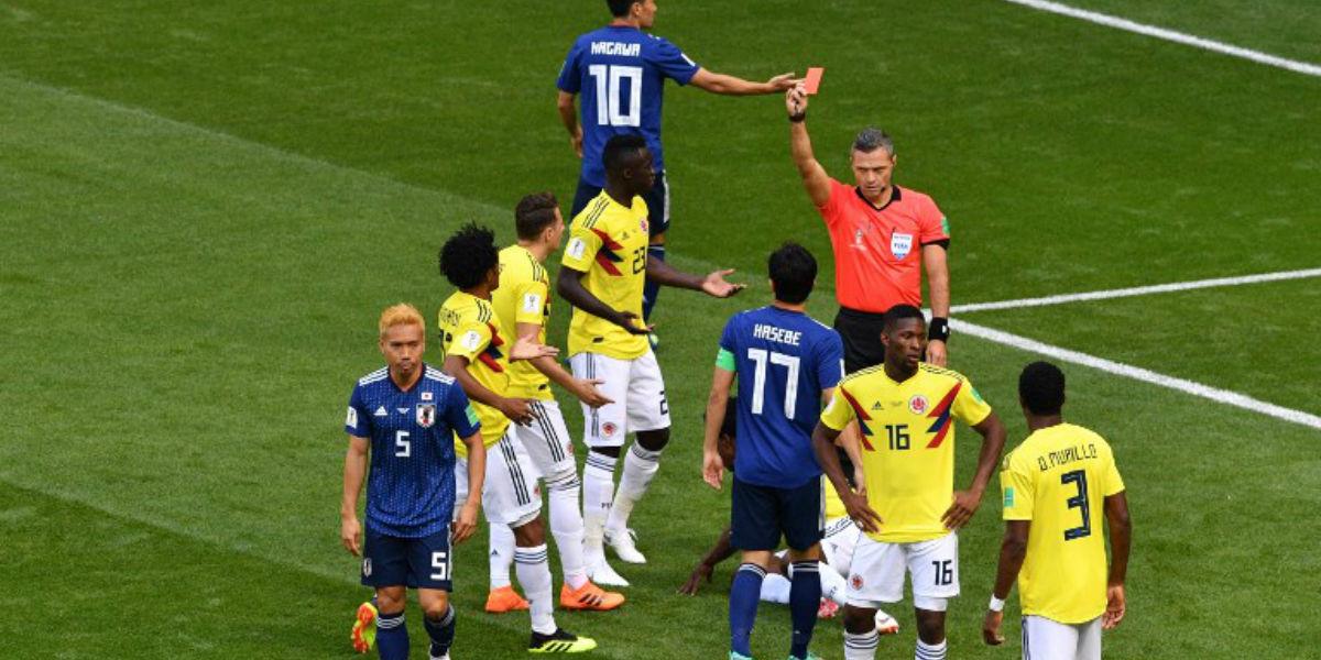 Sánchez, primer jugador colombiano en ser expulsado en un Mundial