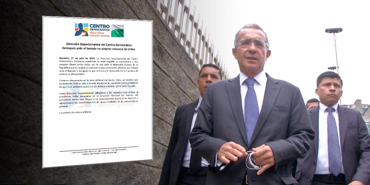 Senado no tramitará carta de renuncia de Álvaro Uribe