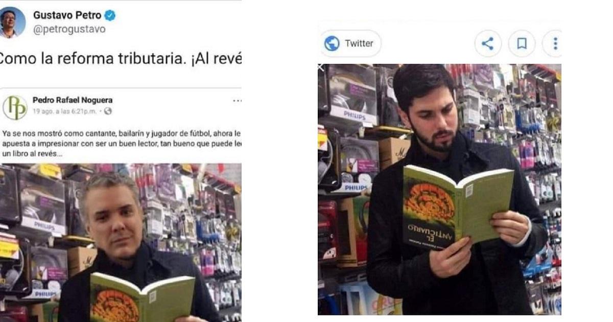 Petro comparte foto de Iván Duque leyendo libro al revés y terminó siendo un montaje