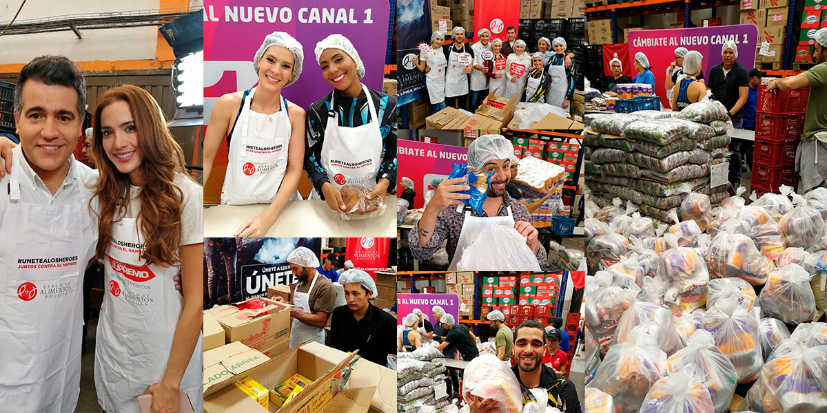 FOTO: Talento Canal 1 apoyando la campaña del Banco de Alimentos / Canal 1.