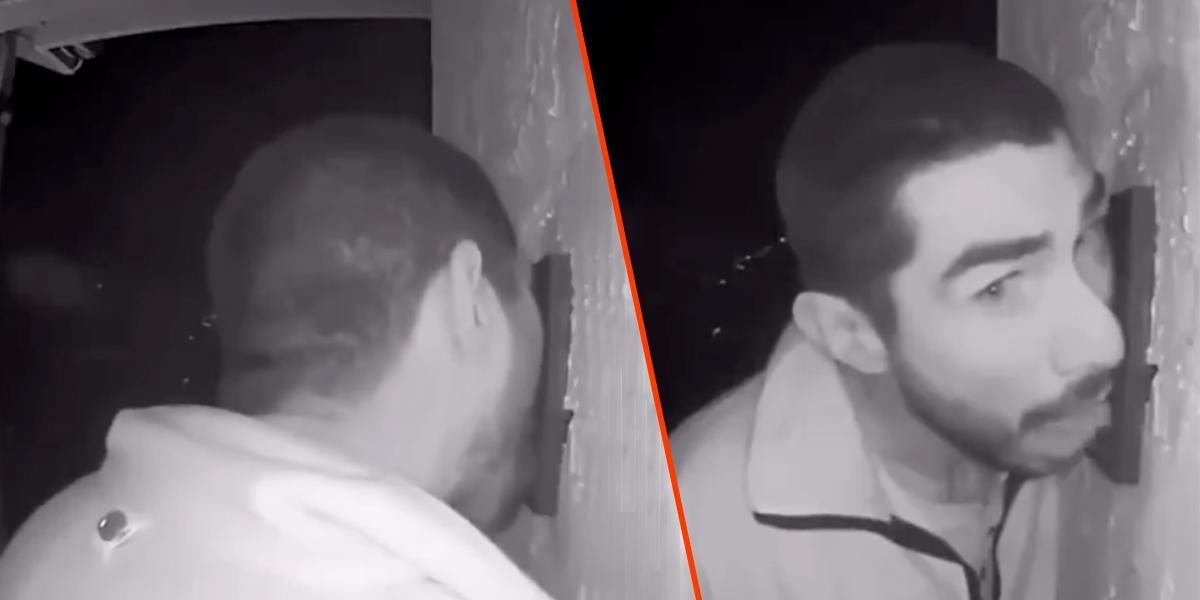 Hombre lamió el timbre de una casa por varias horas
