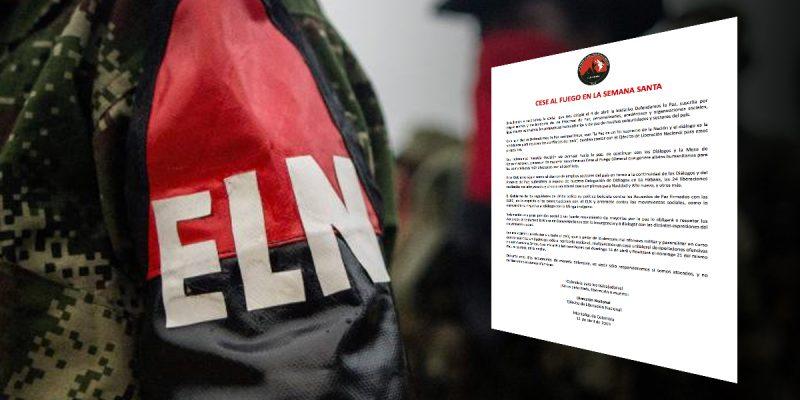 ELN anuncia cese unilateral del fuego durante Semana Santa en Colombia