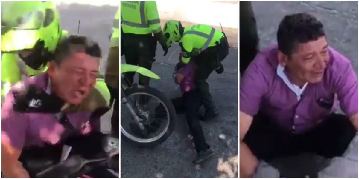 video hombre suplicas moto policia transito barranquilla
