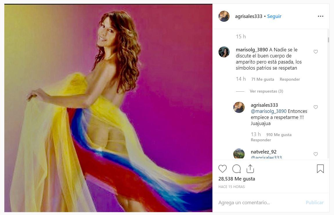 Amparo Grisales Sube Foto Mostrando La Cola Con La Bandera Canal 1