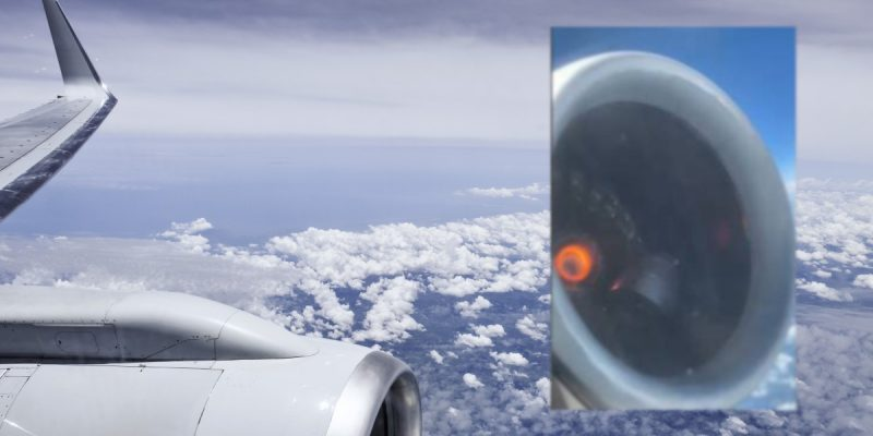 motor de avión prende en llamas y pasajero graba el momento