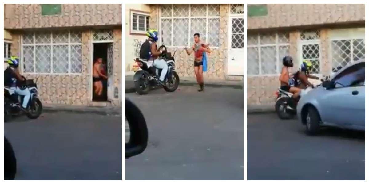 Video viral de un supuesto amante huyendo casi desnudo en moto cuando llega el marido
