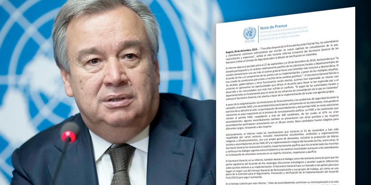 Secretario general de la ONU pide mayor protección para excombatientes de las Farc