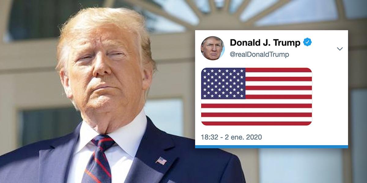 Trump tuitea la bandera de su país tras muerte de Soleimani en Bagdad