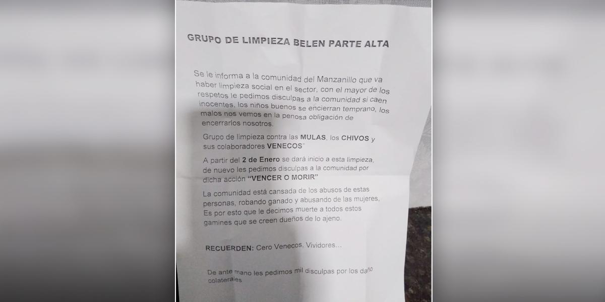Amenazan a venezolanos con panfletos en Medellín