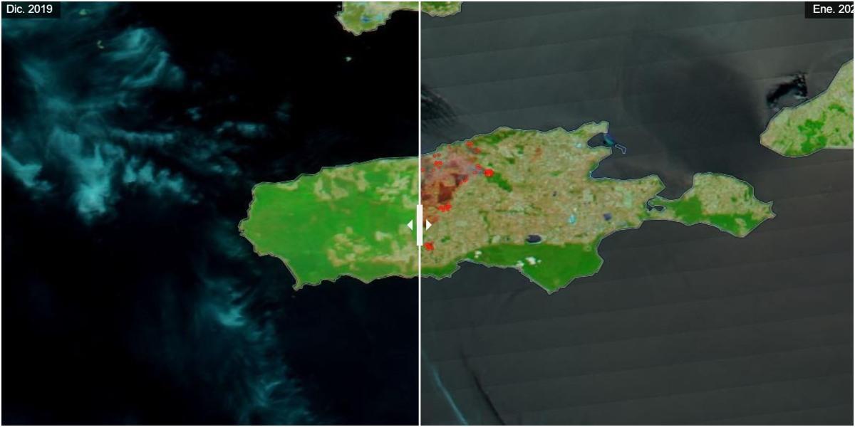 fotos y videos incendios australia desde satelites nasa