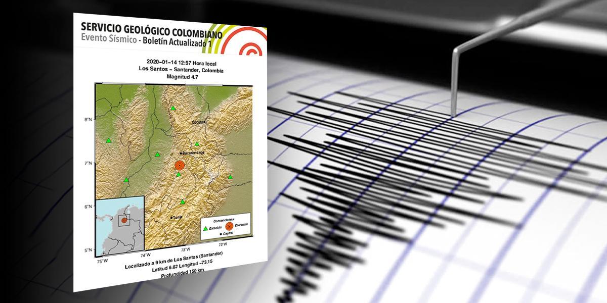 Sismo de magnitud 4,7 se sintió en Santander