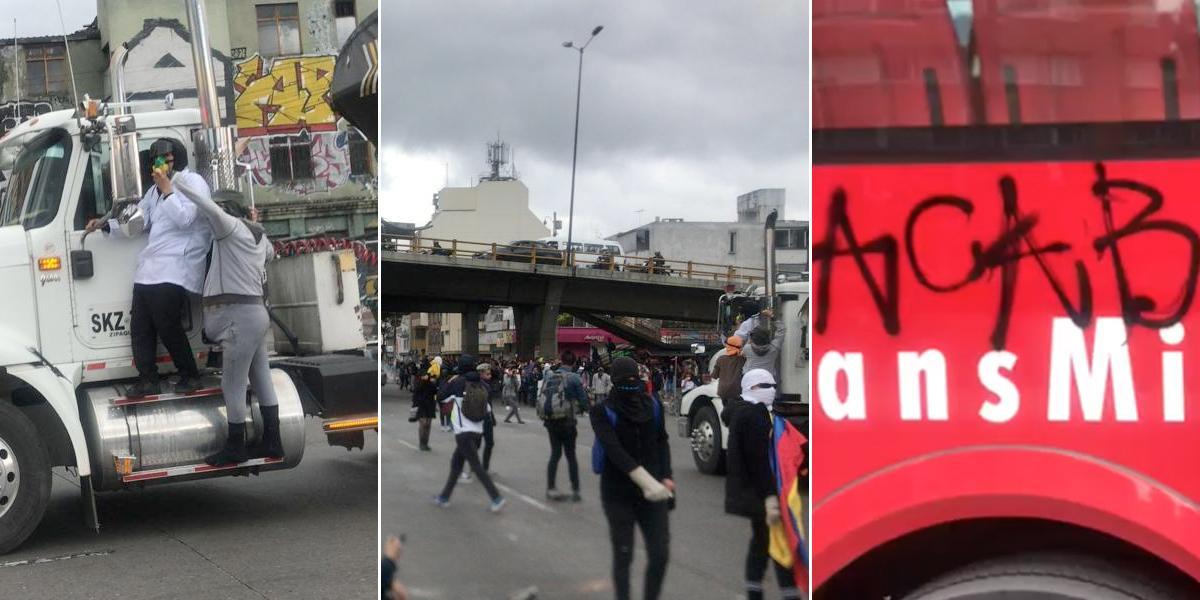 Bloquean la carrera 30: encapuchados vandalizan buses de TM en protesta de U. Nacional