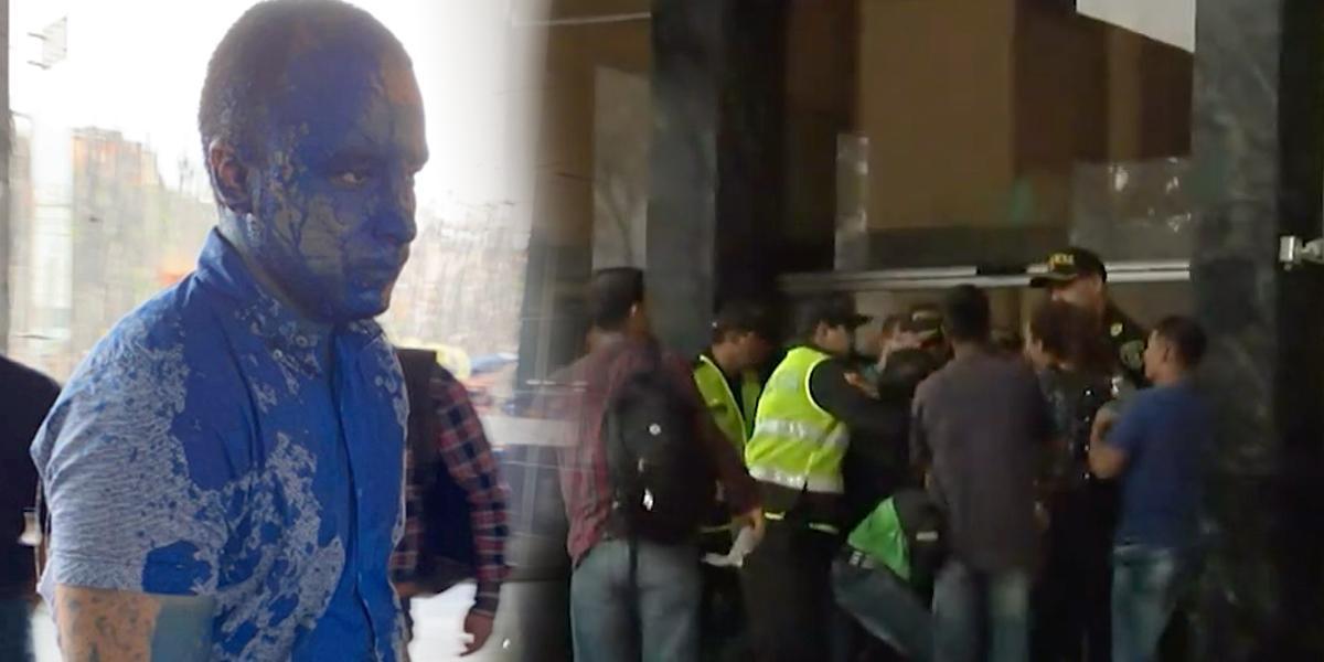 Durante marcha, encapuchados intentaron entrar a un hotel y pintaron a ciudadanos en Medellín