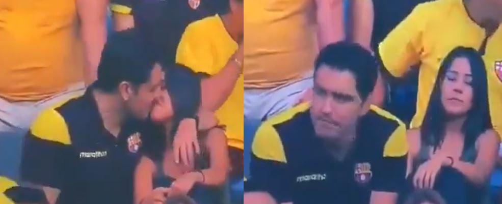 """Hombre """"pillado con su moza"""" en estadio de Guayaquil habría reconocido su infidelidad"""
