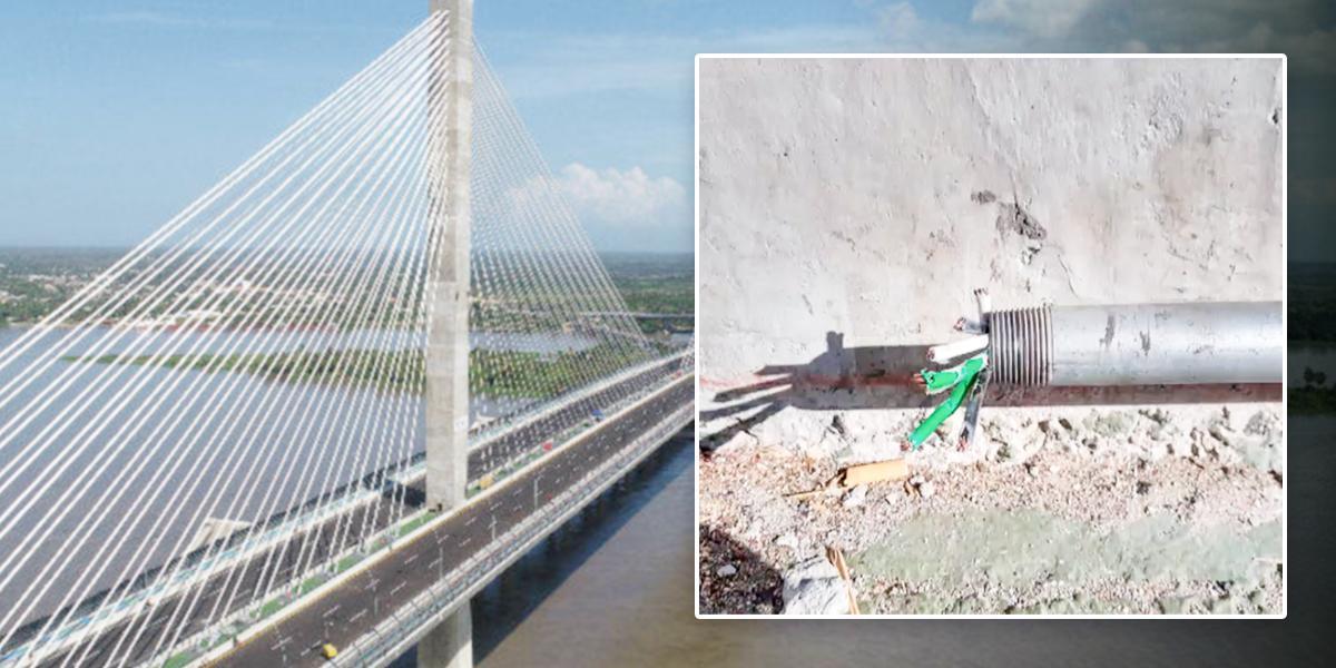 Roban partes del puente Pumarejo que no lleva ni dos meses de inaugurado