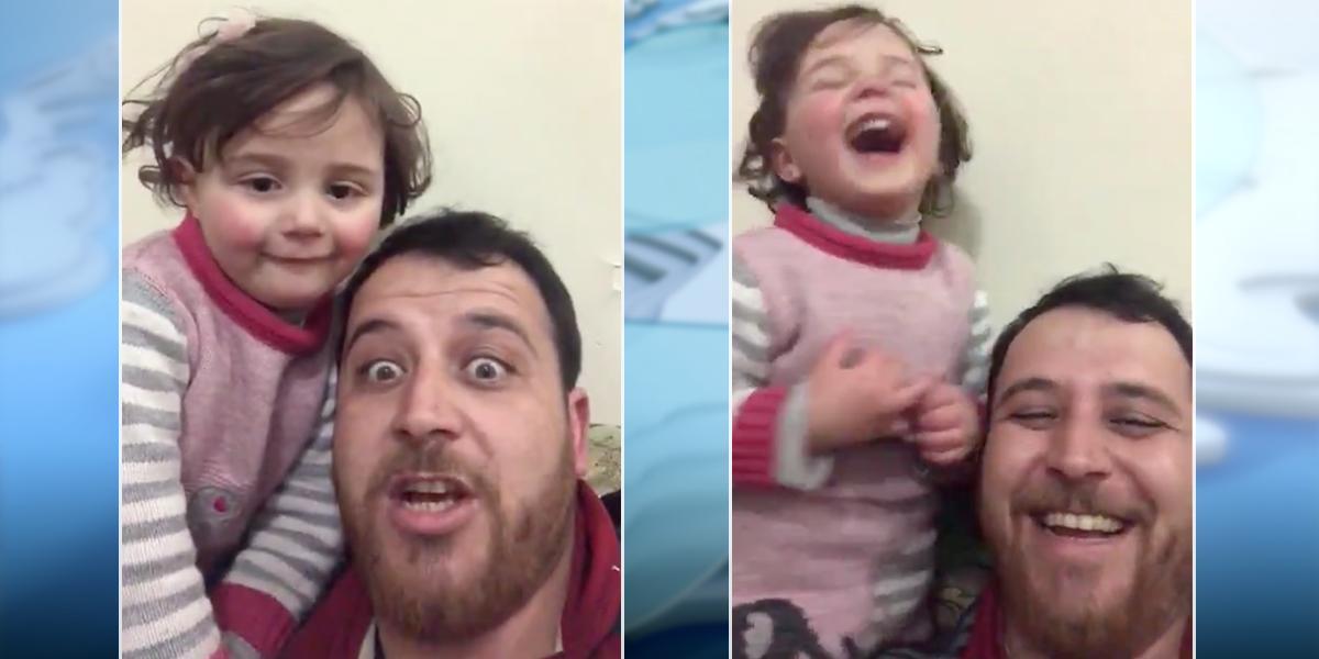 Estremecedor video: padre inventa un juego para distraer a su pequeña hija del horror de la guerra