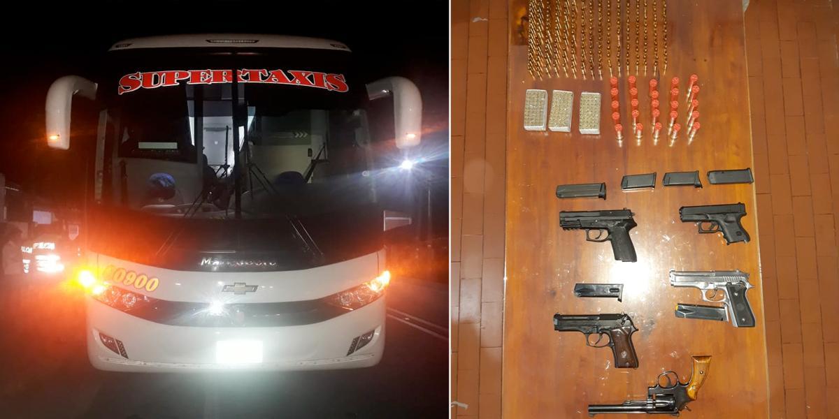 Decomisan armas que iban como encomienda en bus de Supertaxis