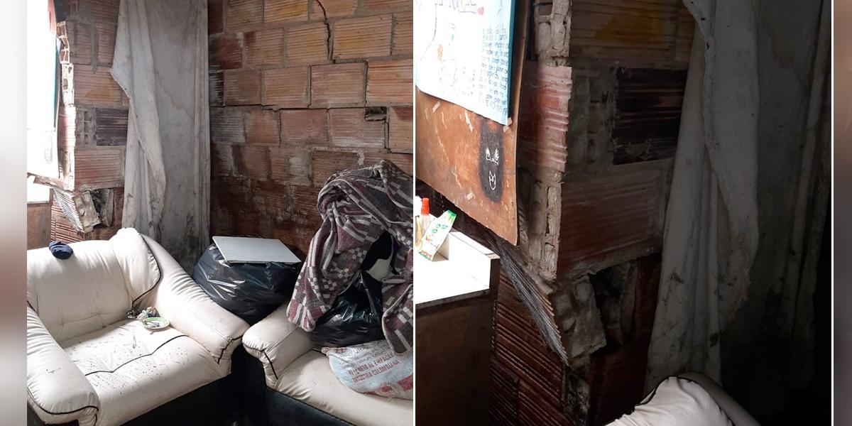 Cuatro familias viven una delicada situación tras fuertes lluvias en Bogotá