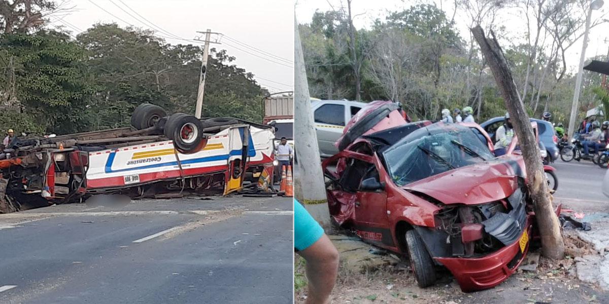 Un muerto y 17 heridos deja accidente de tránsito en vía a Cartagena