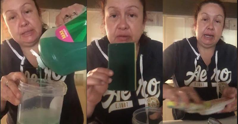 Señora enseña a lavar los platos