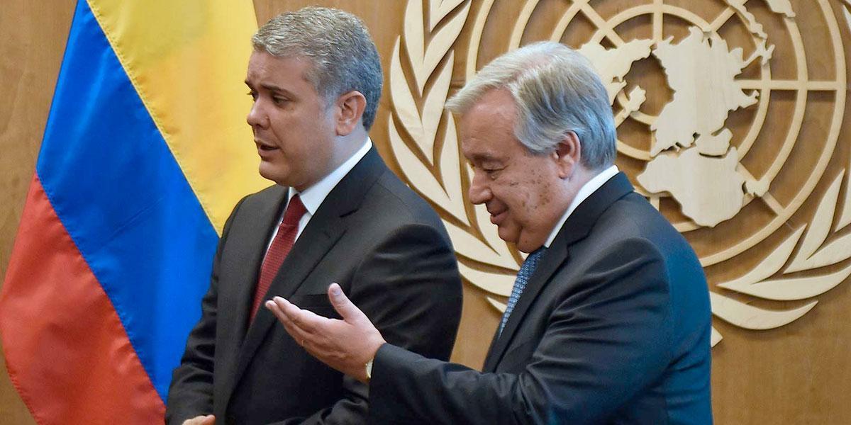 Duque se reúne con el secretario general de la ONU en Nueva York