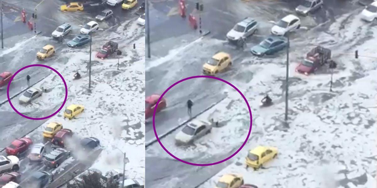 Video: ciudadanos empujan carro en medio del fuerte granizo en Bogotá