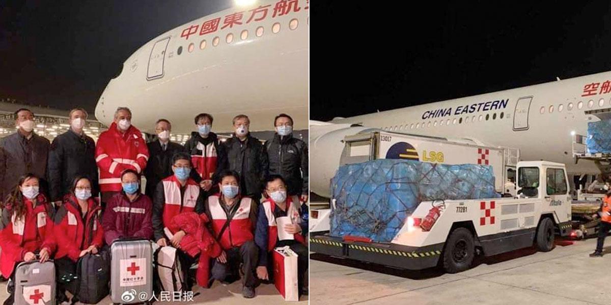 Llegan a Italia médicos especialistas desde China para combatir el COVID-19
