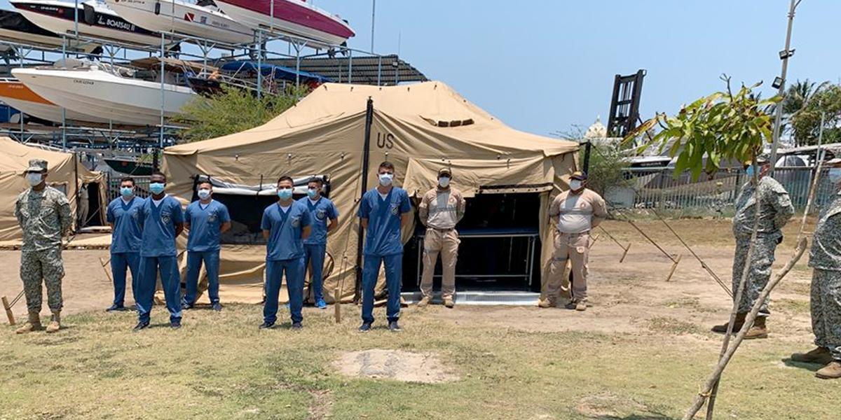 Armada adecua carpas para atender casos de coronavirus en Cartagena