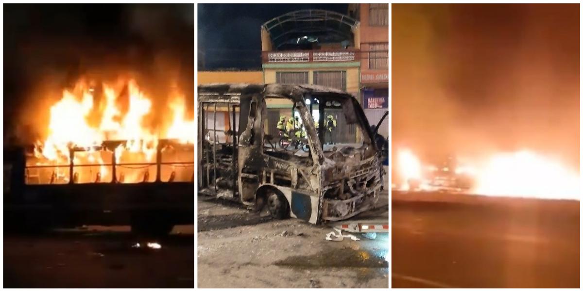 Incendio buses del SITP y TransMilenio