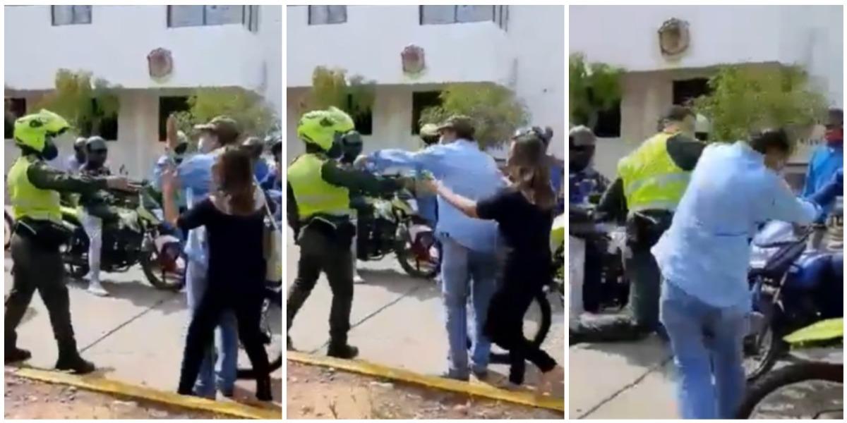 Agresión policía y ciudadano en Valledupar
