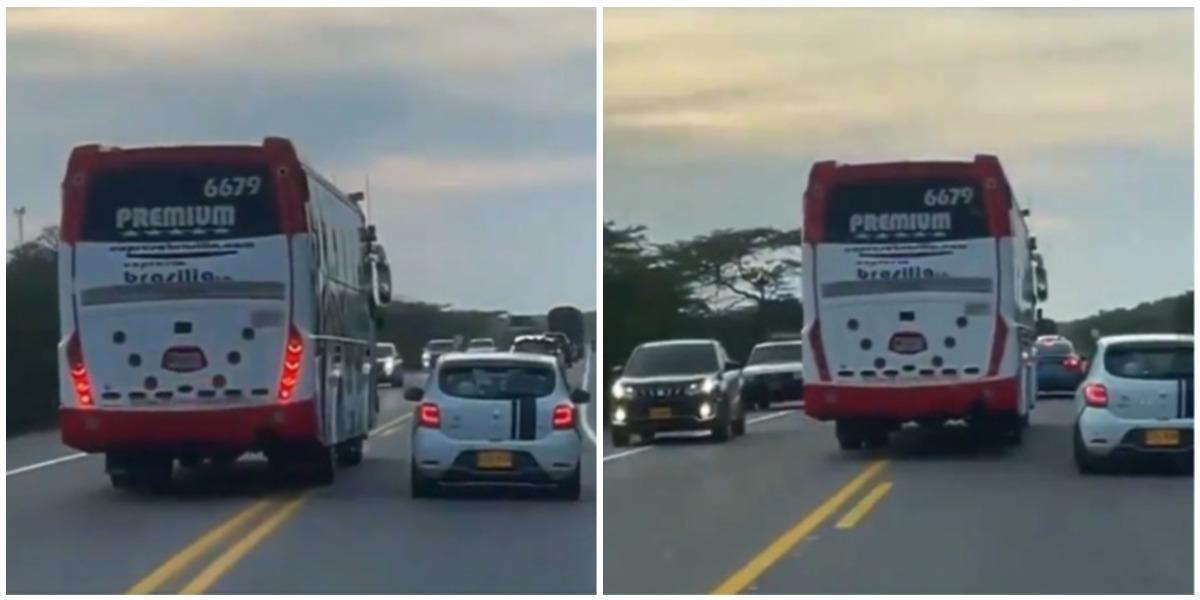 Conductor bus empresa Brasilia adelantó en plena curva y doble línea