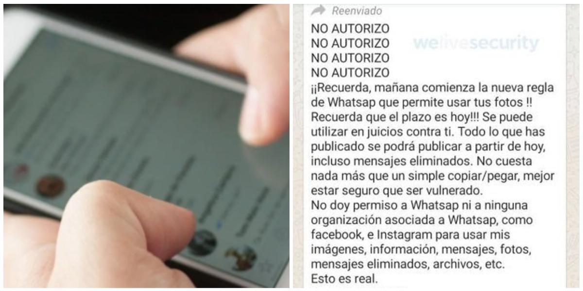 Falsa cadena para evitar nuevas políticas privacidad WhatsApp