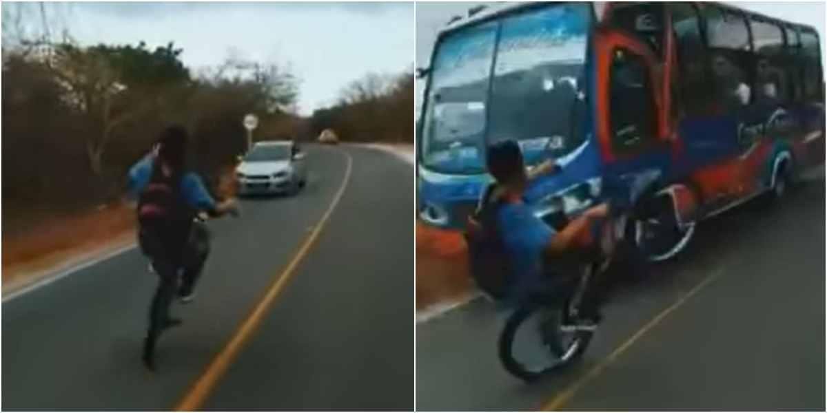 jovenes bicicleta maniobras peligrosas via carretera atlantico video viral