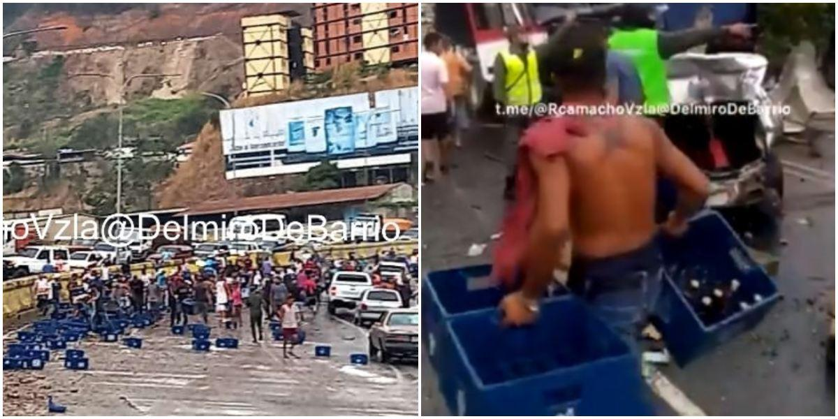 Saquean camión de cerveza en Tazón, Venezuela