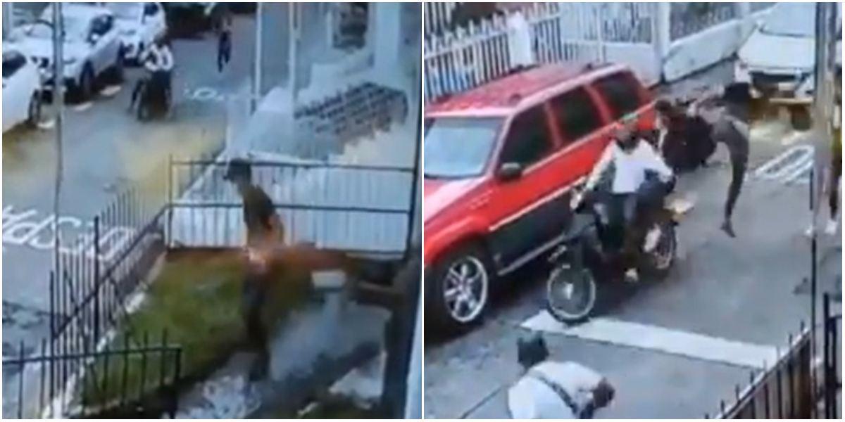 Jackie Chan de Pereira tumbó ladrones en moto con patada