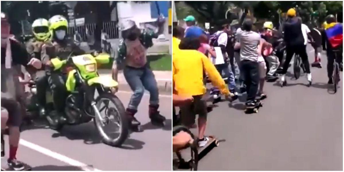 Video policías remolcan patinadores Medellín protestas