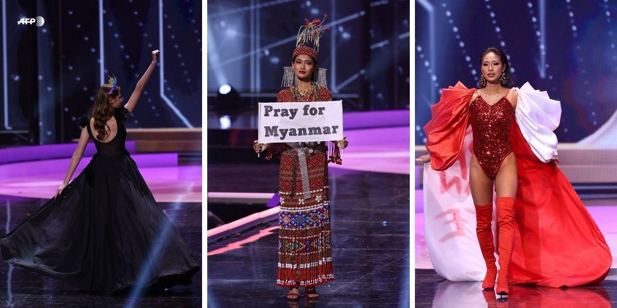 candidatas de Miss Universe se destacaron por sus mensajes de protesta.