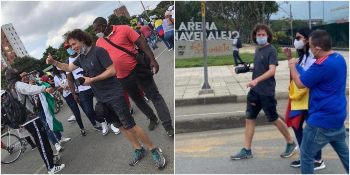 Luisito Comunica en Cali graba protestas en Colombia
