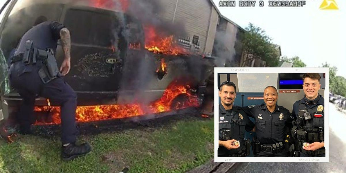 policías hispanos salvaron a un hombre en un carro en llamas