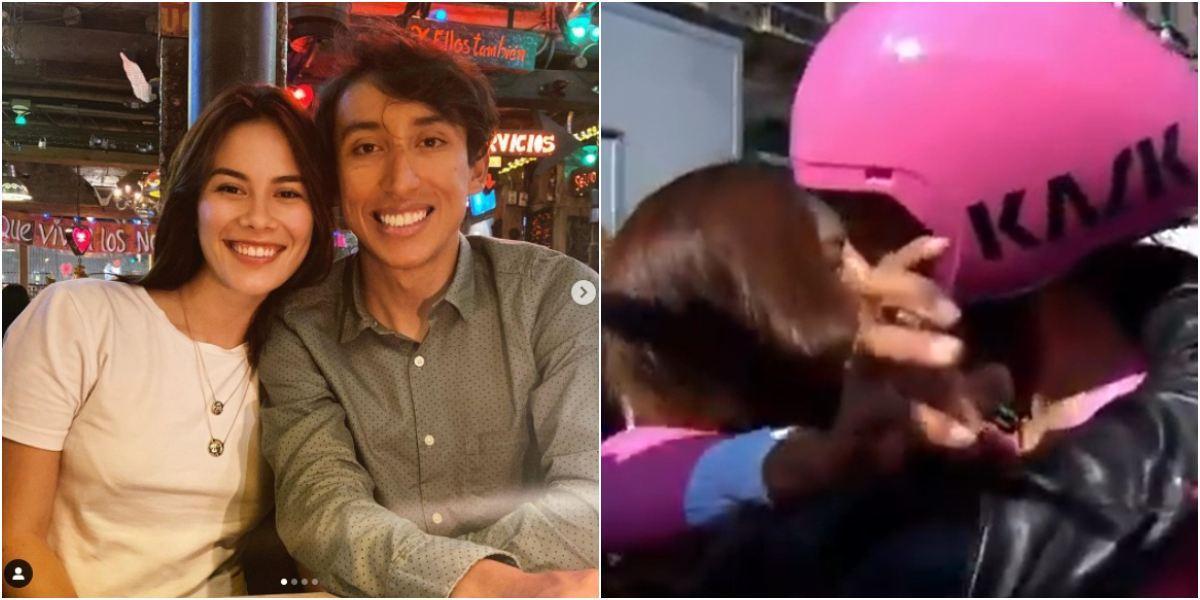 Beso apasionado Egan Bernal a su novia María Fernanda Motas