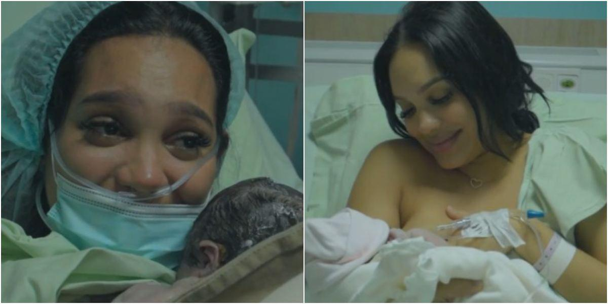 Andrea Valdiri video de proceso de parto Adhara